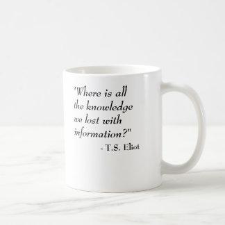 T.S. Eliot Quote - Knowledge Coffee Mug