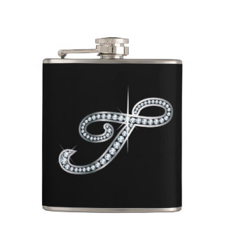 "T Script ""Diamond Bling"" Flask"
