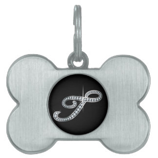 "T Script ""Diamond Bling"" Pet ID Tag"