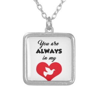 T SHIRT ALWAYS IN MY HEART SILVER PLATED NECKLACE