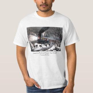 T Shirt: American Railroad Scene: Snowbound Shirt
