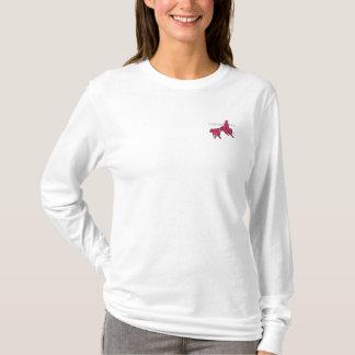 T-Shirt Cabernet CHA Femme Bleu Ma Long Brodé Rose