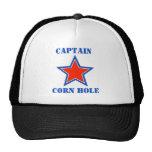 T shirt captain corn hole trucker hat
