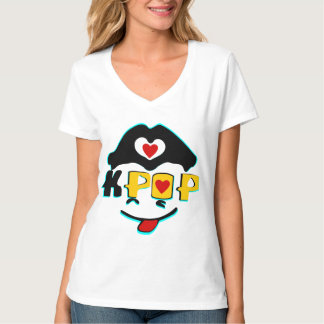 T-Shirt♥♫ con cuello de pico nano de las mujeres Camisas