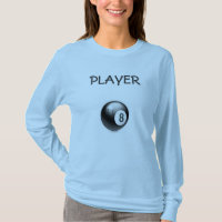T SHIRT  EIGHT  BALL   PLAYER     BLUE