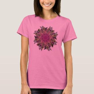 T-Shirt, Fern Leaf Flower, Black Pink Green Tan T-Shirt