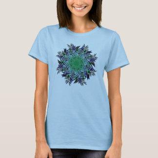 T-Shirt, Fern Leaf Flower, Blue Green Purple Black T-Shirt