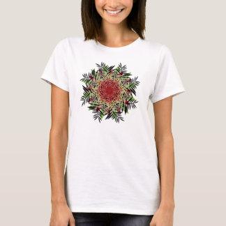 T-Shirt, Fern Leaf Flower, Red Green Tan Black T-Shirt