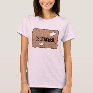 T-Shirt: Geocacher (Treasure Map). Pink T-Shirt