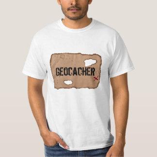 T-Shirt: Geocacher (Treasure Map). White T-Shirt