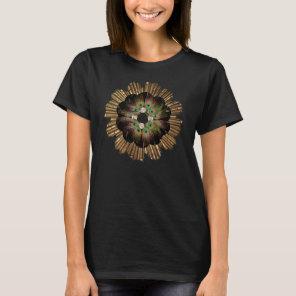 T-Shirt | Gold Sun Mandala Peacock feathers
