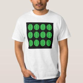 T-Shirt Green Glitter Circles On Black