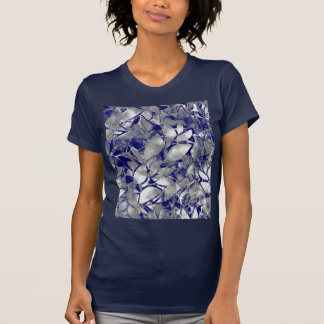 T-Shirt Grunge Art Silver Floral Abstract