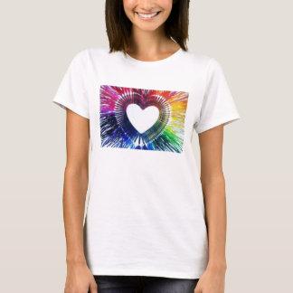T-SHIRT Hearts White Rainbow drip