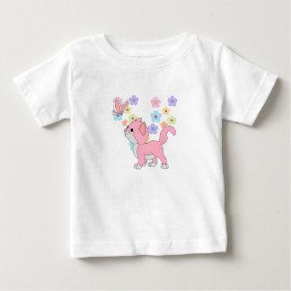 T-Shirt Kid's Girls Butterfly Flowers Pink Cat