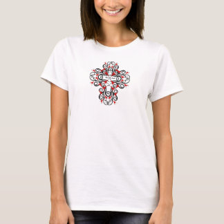 T-Shirt Ladies Abstract Floral Red Black Cross