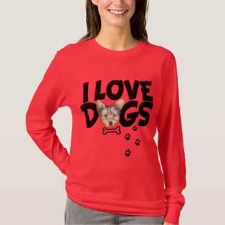 t-shirt  long sleeve woman i love dogs