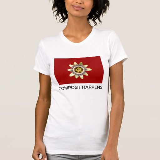 T-Shirt, Passion flower, red back, COMPOST Shirts