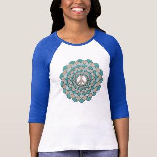T-Shirt, Peace Flower, Blue, Tan T-Shirt