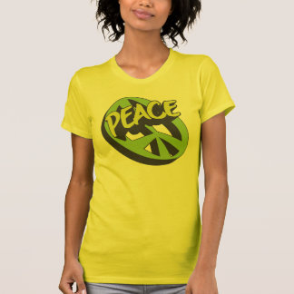 T-Shirt Peace Sign, Green, Yellow, Customizable