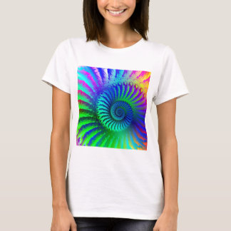 T-Shirt - Psychedelic Fractal blue terquoise green