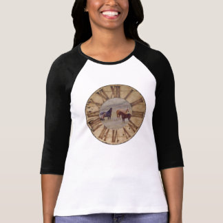 T-Shirt Raglan Women's Fitted T-Shirt Horse Design