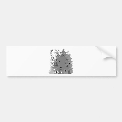 t-shirt saying tongue twister finch forest tree of car bumper sticker