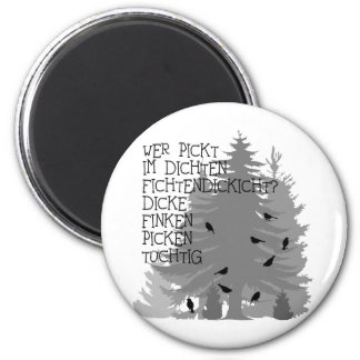 t-shirt saying tongue twister finch forest tree of magnet