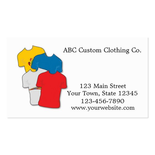 T shirt shop business card zazzle for Business cards for t shirt business