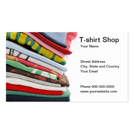T Shirt Shop Business Card Business Card Zazzle