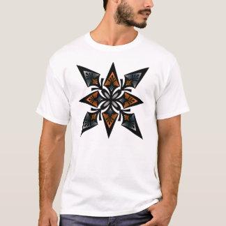 T-Shirt, Spearhead Flower Star, Orange Silver Grey T-Shirt
