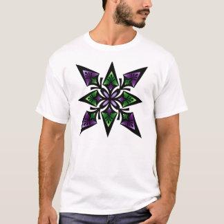 T-Shirt, Spearhead Flower Star, Purple Green T-Shirt