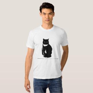 T-Shirt - stylized tuxedo black cat with attitude
