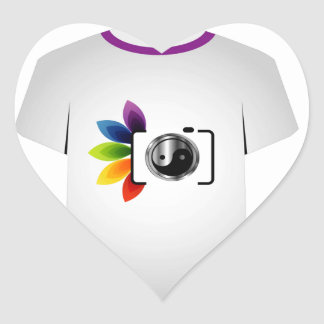 T Shirt Template- digital camera Heart Sticker