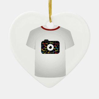 T Shirt Template-digital camera Double-Sided Heart Ceramic Christmas Ornament