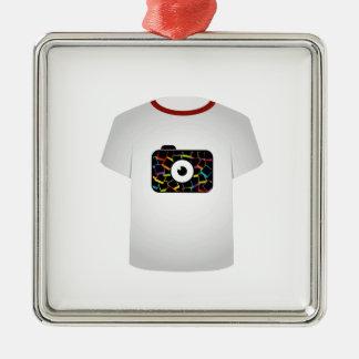 T Shirt Template-digital camera Square Metal Christmas Ornament