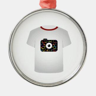 T Shirt Template-digital camera Round Metal Christmas Ornament
