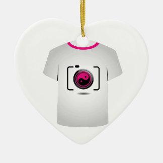 T Shirt Template- digital camera Double-Sided Heart Ceramic Christmas Ornament