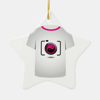 T Shirt Template- digital camera Double-Sided Star Ceramic Christmas Ornament