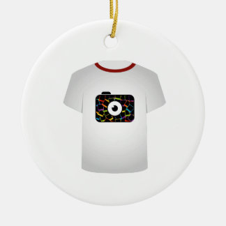 T Shirt Template-digital camera Double-Sided Ceramic Round Christmas Ornament