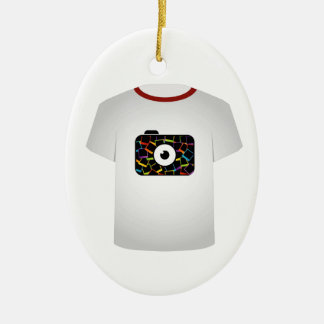 T Shirt Template-digital camera Double-Sided Oval Ceramic Christmas Ornament