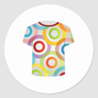 T Shirt Template-fractal rings Classic Round Sticker