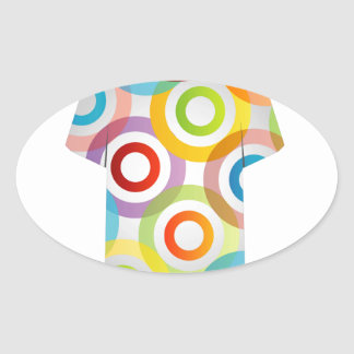 T Shirt Template-fractal rings Oval Sticker
