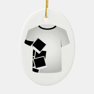 T Shirt Template-Polaroid collage Double-Sided Oval Ceramic Christmas Ornament