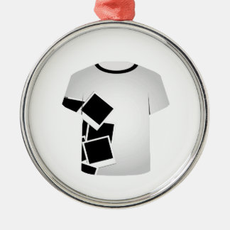 T Shirt Template-Polaroid collage Round Metal Christmas Ornament