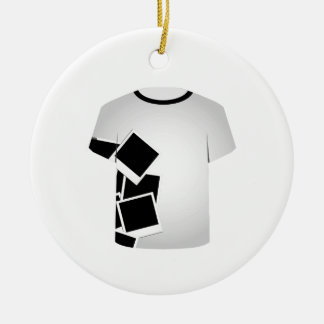 T Shirt Template-Polaroid collage Double-Sided Ceramic Round Christmas Ornament