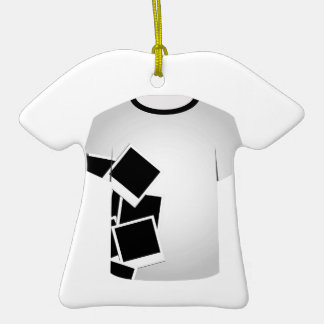 T Shirt Template-Polaroid collage Double-Sided T-Shirt Ceramic Christmas Ornament