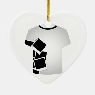 T Shirt Template-Polaroid collage Double-Sided Heart Ceramic Christmas Ornament