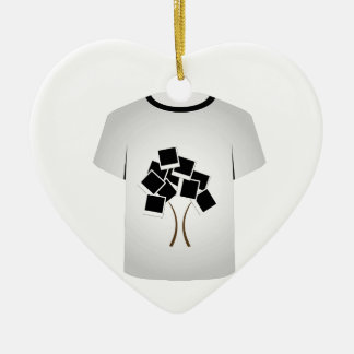 T Shirt Template- Polaroid tree Double-Sided Heart Ceramic Christmas Ornament
