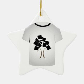 T Shirt Template- Polaroid tree Double-Sided Star Ceramic Christmas Ornament